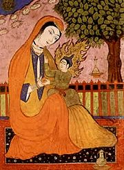 mary and jesus in persian miniature